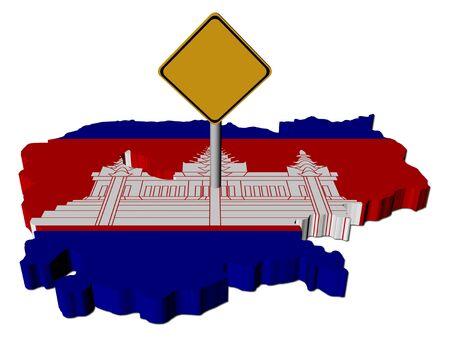 warning sign on Cambodia map flag illustration