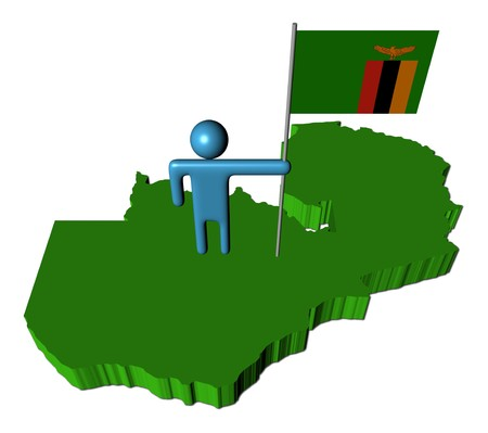 zambia: person with flag on Zambia map illustration