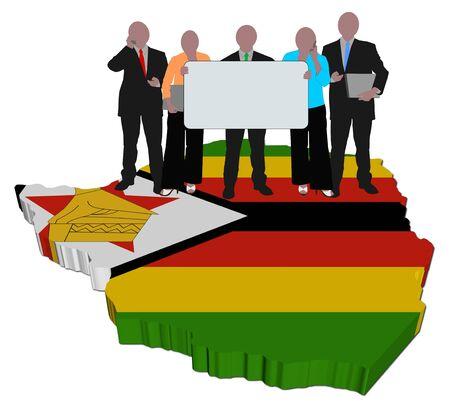 zimbabwe: equipo de negocios en la ilustraci�n de bandera de mapa de Zimbabwe  Foto de archivo
