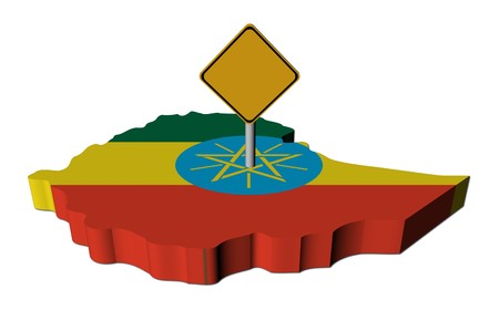 warning sign on Ethiopia map flag illustration Banco de Imagens
