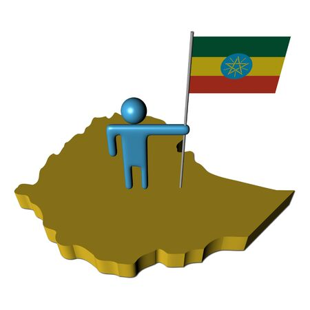 person with flag on Ethiopia map illustration illustration