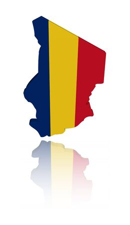 chad: Chad map flag with reflection illustration