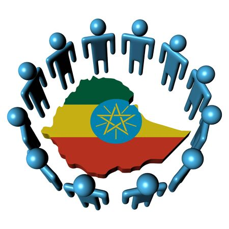 Circle of people around Ethiopia map flag illustration illustration