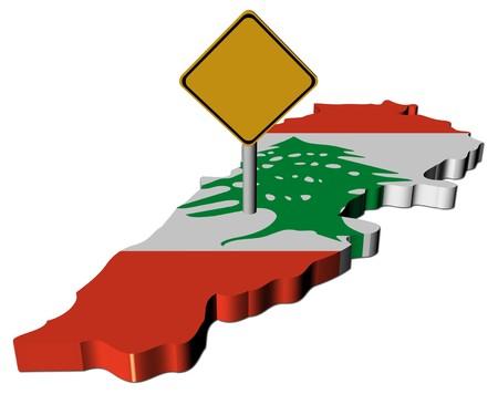 warning sign on Lebanon map flag illustration