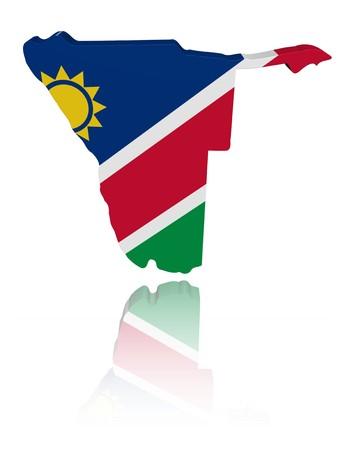 Namibia map flag 3d render with reflection illustration Stock Illustration - 7864442