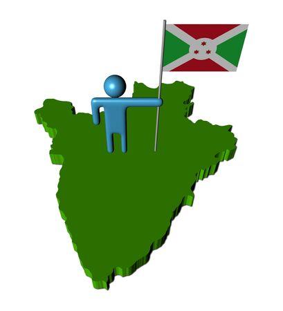abstract person with flag on Burundi map illustration Stock Illustration - 7885090