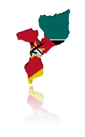 Mozambique map flag with reflection illustration Stock Illustration - 7885089