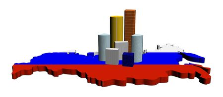 abstract skyscrapers on Russia map flag illustration Stock Illustration - 7885095