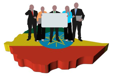 business team with sign on Ethiopia map flag illustration illustration