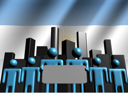 Argentina business team with abstract skyline illustration Stock Illustration - 7932159