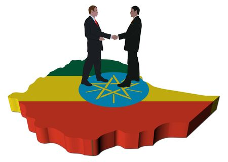 Business people shaking hands on Ethiopia map flag illustration illustration