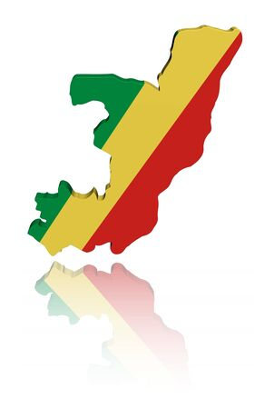 congo: Republic of Congo map flag with reflection illustration