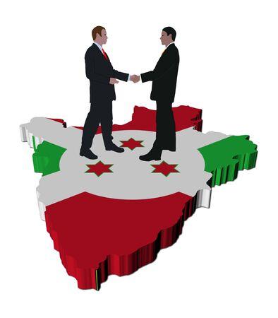 Business people shaking hands on Burundi map flag illustration illustration