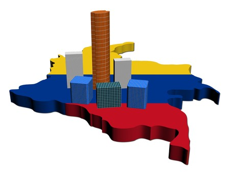 colombian: abstract skyscrapers on Colombia map flag illustration