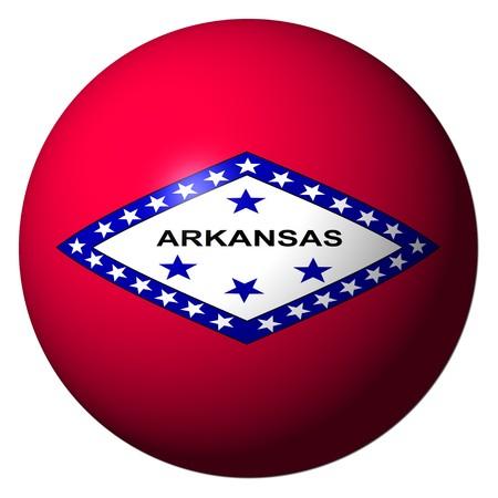 Arkansas flag sphere isolated on white illustration Stock Illustration - 8087158