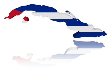 Cuba map flag with reflection illustration illustration