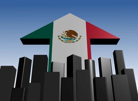abstract skyline and Mexican flag arrow illustration illustration