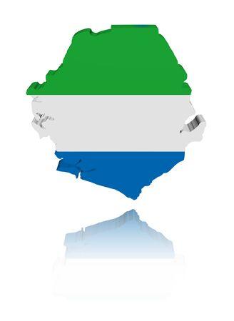 sierra: Sierra Leone map flag with reflection illustration