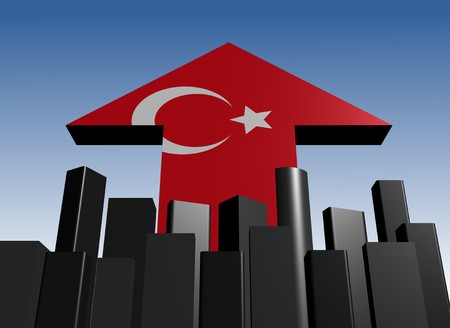 turkish flag: abstract skyline and Turkish flag arrow illustration Stock Photo