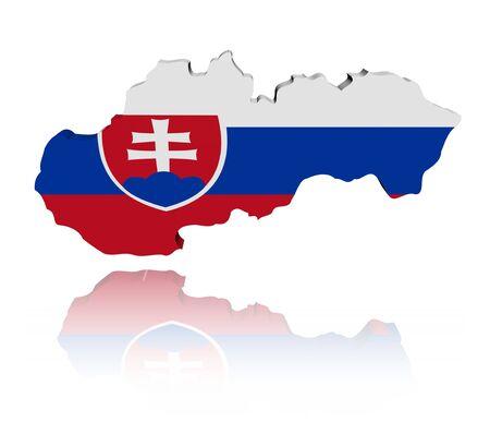 Slovakia map flag with reflection illustration Stock Illustration - 8135816