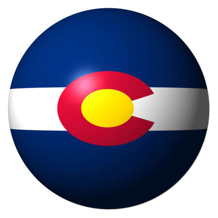 Colorado flag sphere isolated on white illustration illustration