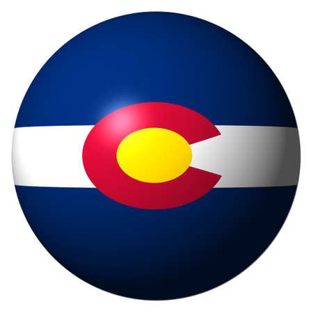 flag of colorado: Colorado flag sphere isolated on white illustration Stock Photo