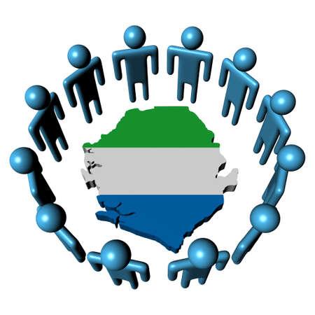 Circle of people around Sierra Leone map flag Stock Photo - 8183543