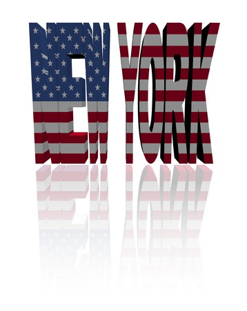 New York text with American flag illustration Stock Illustration - 8183549