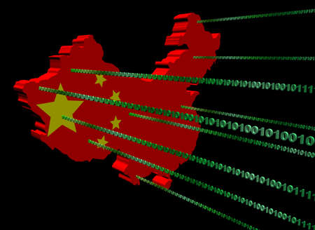 China map flag with green binary code illustration illustration