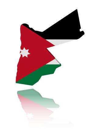 Jordan map flag with reflection illustration illustration