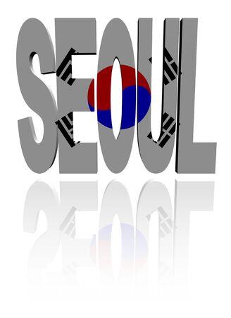 seoul: Seoul text with South Korean flag illustration Stock Photo
