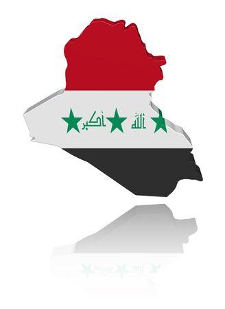 Iraq map flag 3d render with reflection illustration illustration