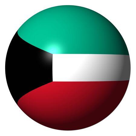 koweit: Drapeau du Kowe�t sph�re isol�e sur illustration blanche