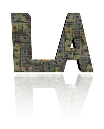 angeles: Los Angeles text with American dollars illustration Stock Photo