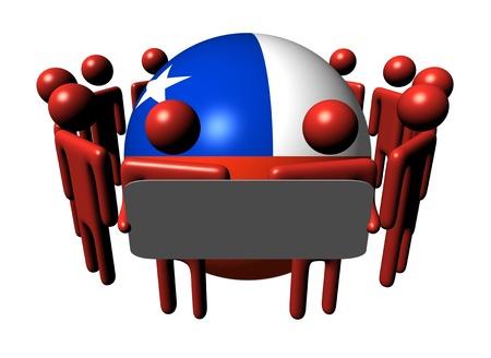bandera chilena: personas con signo alrededor de ilustraci�n de esfera de bandera chilena