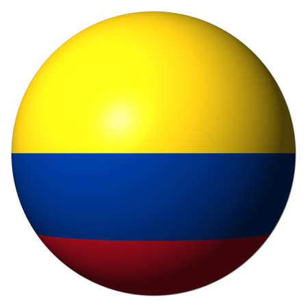 Colombia flag sphere isolated on white illustration illustration