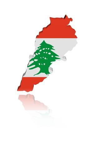 Lebanon map flag with reflection illustration illustration