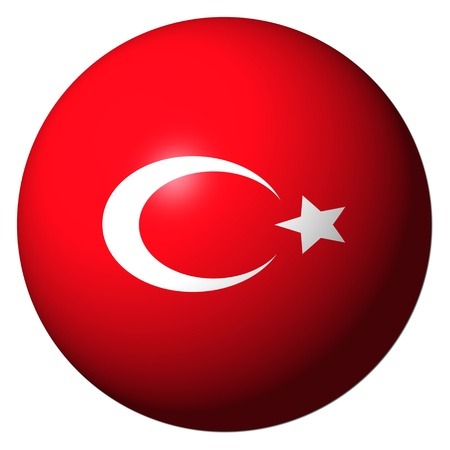 turkish flag: Turkey flag sphere isolated on white illustration