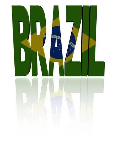 brazil flag: Brazil text with Brazilian flag illustration Stock Photo