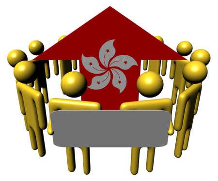 hong kong people: people with sign around Hong Kong flag arrow