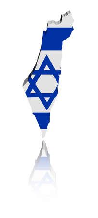 Bandera de mapa de Israel con la ilustración de la reflexión Foto de archivo - 8313607