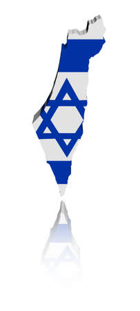 Israel map flag with reflection illustration illustration