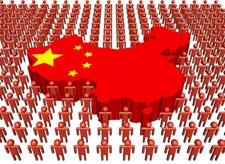 mapa china: Chino mapa bandera rodeado de muchas personas