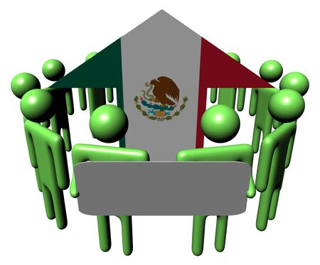 population growth: people with sign around Mexican flag arrow Stock Photo
