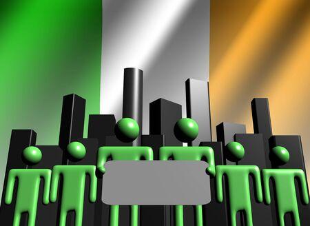 irish cities: Irish business team with skyline illustration
