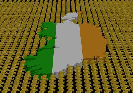 irish map: Ireland map flag with euro symbols