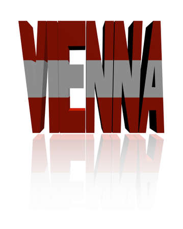 austrian: Vienna text with Austrian flag illustration Stock Photo