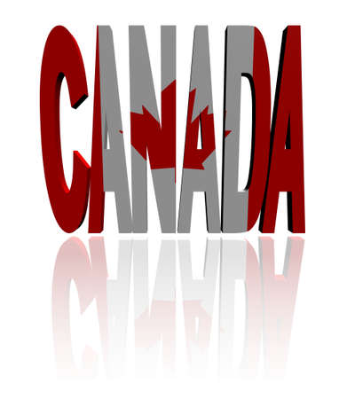 Canada text with Canadian flag illustration illustration