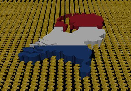 Netherlands map flag with euro symbols photo