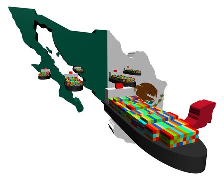 Mexico map flag with container ships illustration illustration